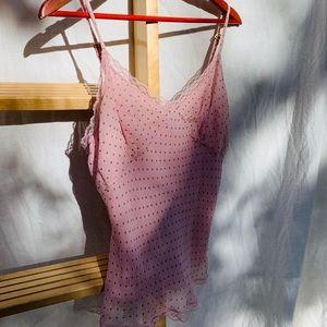 Pink polka dot Express silk Top